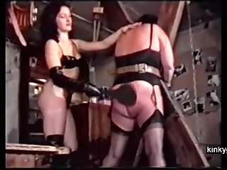 Sadistic French couple Michel and Louise training a chubby slave mom.