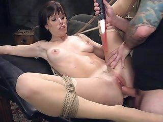 Hardcore anal bondage doggy fuck session with brunette Alana Cruise