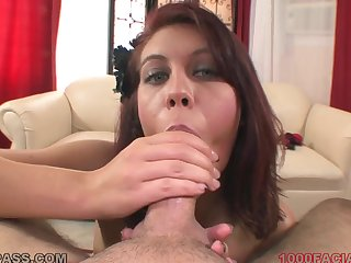 Stockings slut fingers her cunt and sucks a dick