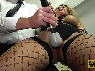 Gorgeous kinky blonde Joanna Bujoli throated and fucked while tied up