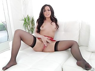 Beautiful chick plays with her hairy cunt and sucks a dick