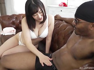 Otomi Rina enjoys dick eating before her black friend cum on her face