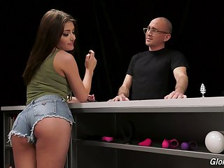 Naughty gal Adria Rae works on really strong BBC jutting out of glory hole