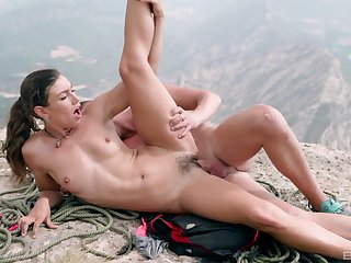 Teen with hairy pussy gets laid on top of a mountain