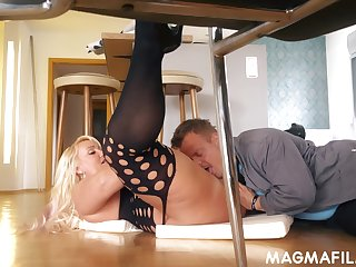 Juicy German MILF with huge meaty thighs fucks a man at home