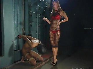 White mistress Brooke Banner puts on strapon and fucks black submissive