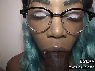 sloppy POV lowjob with kinky ebony babe in eyeglasses