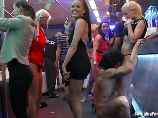 Sex on the table and floor with couple of sluts and male strippers