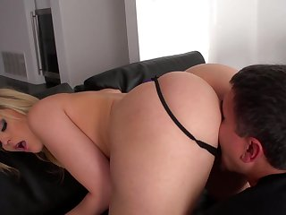 Aroused blonde sure craves for this man's penis in her ass