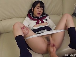 Japanese schoolgirl loads her furry cherry with dick