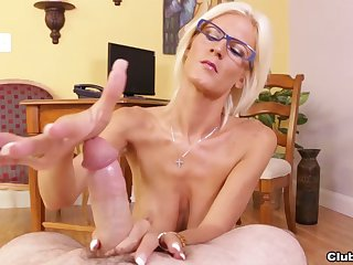 Big-chested MILF Olivia Blu's POV tit fuck and sexy handjob