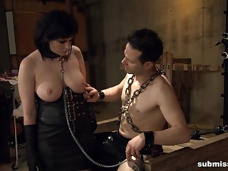 Fat mature Jada Sinn in leather, tied up and fucked by a fat prick