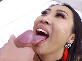 Horny Asian model Sharon Lee masturbates and gets fucked in her ass
