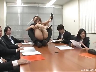 Natural boobs Ayami Shunka fucked on the office table by her boss