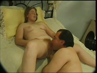 Lewd plump wife with big titties moans as her wet pussy is licked well