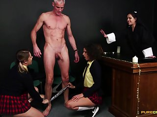 Priest gets blown by Bunny Love and her smoking hot girlfriends