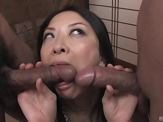 Japanese slut Sayoko Machimura gets pleasured by lot of dudes