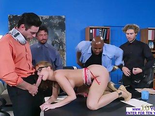 Britney Amber sucks several huge cocks