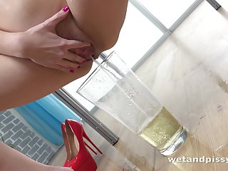 Perverted sporty bitch Rebeca loves pissing and going solo at the same time