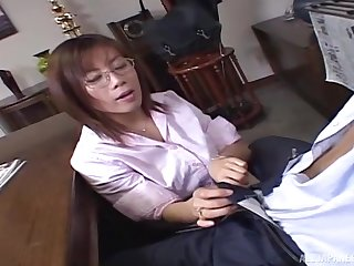 Quickie fucking in the office with a cute Japanese secretary
