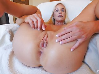 Full blast up the pussy and ass in home amateur solo with a wife