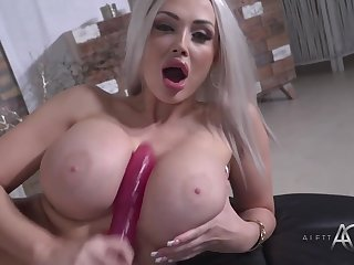 Sexy Blonde Aletta in Solo with Big Pink Dildo - masturbation