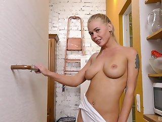 Horny solo model Darina Nikitina enjoys poking her pussy with a toy