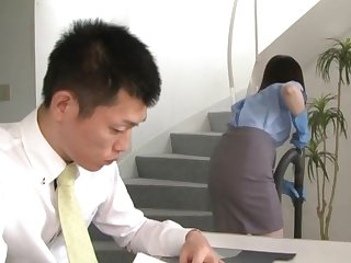 Sexy office woman from Tokyo stops for a minute to fuck the new guy