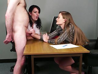 Hot CFNM at the office for two slutty babes