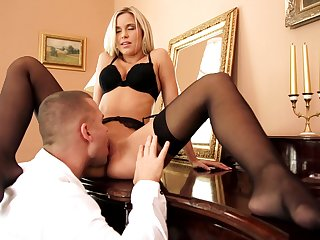 Cum on tits ending for seductive Dido Angel in lingerie and stockings