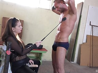 Dirty dude enjoys balls busting and pegging by sexy Mila Fox