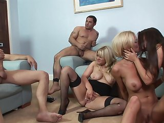 Hot ass Claudia Rossi and her best friends have wild group sex