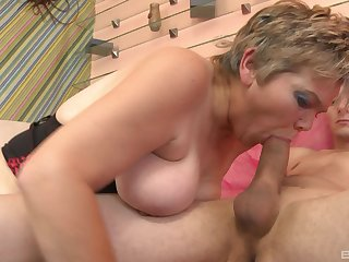 Dazzling mature sucks with lust and fucks even better