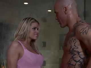 Tattooed man fucks mouth and pussy of stunning wife Jessa Rhodes