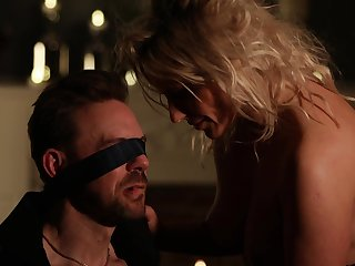 Horny wife Brittany Bardot tied up her hubby for erotic fucking