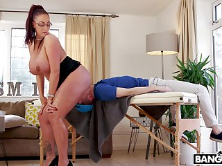 Mature bends ass for young boy's merciless dick