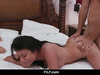 Adria Rae gets brutally fucked beside her mom